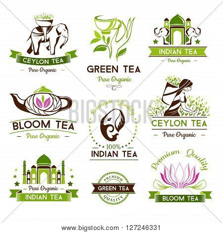 Green, indian, ceylon and bloom tea labels and emblems. Tea decorative elements for package design