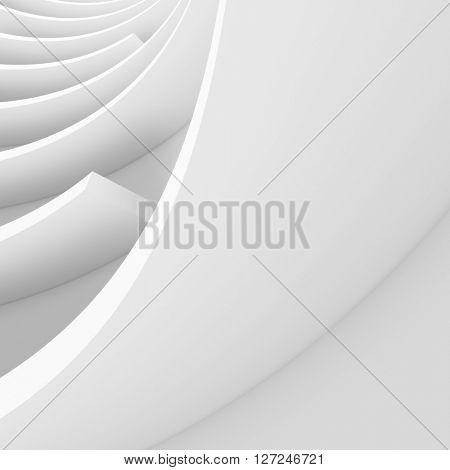 Abstract Architecture Background. White Circular Building. Modern Architectural Design. White Building Concept. 3d Rendering