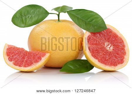 Grapefruit Fruit Grapefruits Slice Slices With Leaves Isolated On White