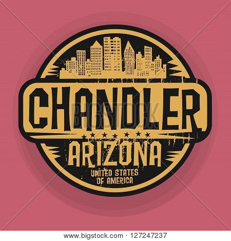Stamp or label with name of Chandler, Arizona, vector illustration