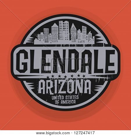 Stamp or label with name of Glendale, Arizona, vector illustration