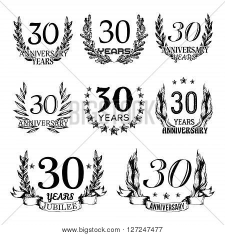 30th anniversary emblems set. Collection of hand drawn anniversary signs with wreath. Celebration badges in sketch style.