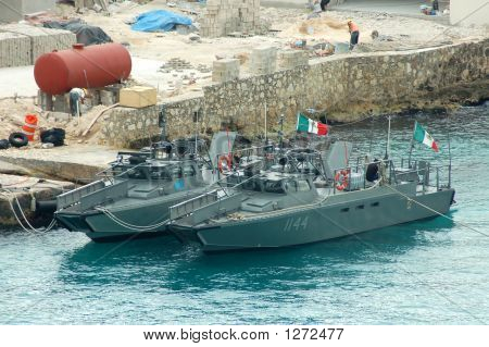 Military In Cozumel Harbor