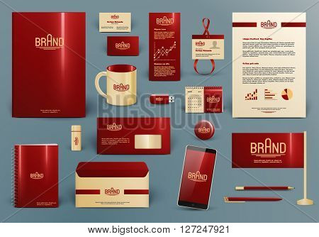 Corporate identity template. Branding design mock-up with logo.  Letter envelope, card, catalog, pen, pencil, badge, paper cup, smartphone, letterhead, calendar