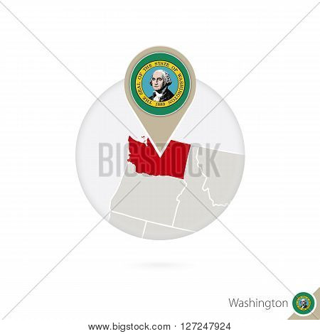 Washington Us State Map And Flag In Circle. Map Of Washington, Washington Flag Pin. Map Of Washingto
