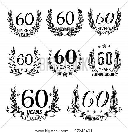 60th anniversary emblems set. Collection of hand drawn anniversary signs with wreath. Celebration badges in sketch style.