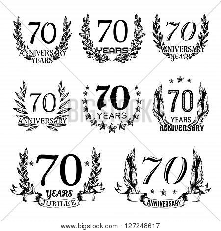 70th anniversary emblems set. Collection of hand drawn anniversary signs with wreath. Celebration badges in sketch style.