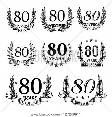 80th anniversary emblems set. Collection of hand drawn anniversary signs with wreath. Celebration badges in sketch style.