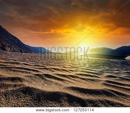 Sand dunes in Himalayas on sunrise. Hunder, Nubra valley, Ladakh, India