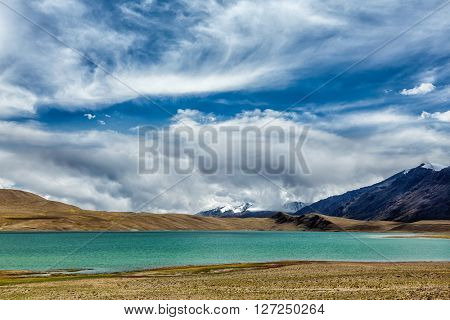 Himalayan lake Kyagar Tso in Himalayas, Ladakh, Jammu and Kashmir, India