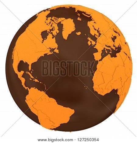 North America And Europe On Chocolate Earth