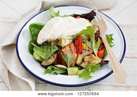 Grilled vegetables salad with fresh mozarella cheese