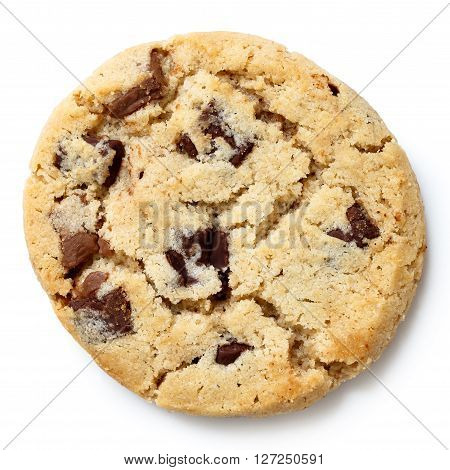 Light Chocolate Chip Cookie Isolated On White From Above.