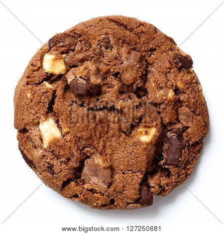 Dark Chocolate Chip Cookie Isolated On White From Above.