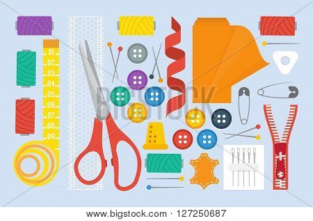 Sewing set with sewing tools, scissors and fabric roll. Tailor sewing kit. Vector illustration