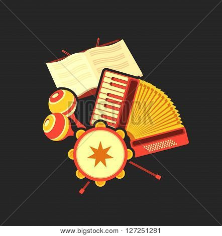 Vector illustration of retro music concept musical emblem accordion headphone tambourine concept making music