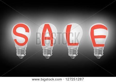 3D Light Bulbs In A Row With Sale Word