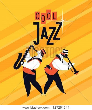 bright vector background with a jazz musician playing the saxophone