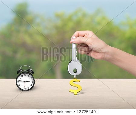 Hand Holding Key With Dollar Sign Keyring And Alarm Clock