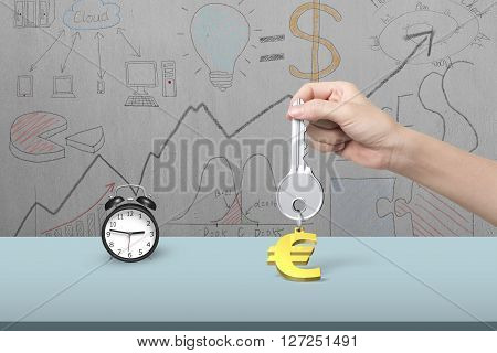 Hand Holding Key With Euro Sign Keyring And Alarm Clock