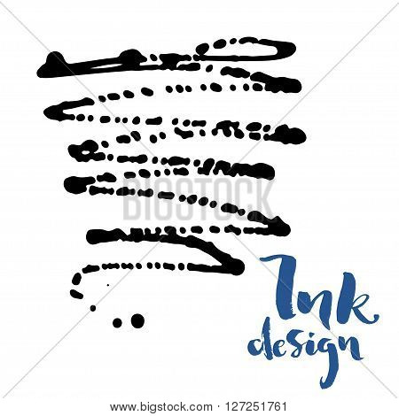 Vector ink stains design card. Isolated black splashes on white background. Modern blue brush lettering title phrase.