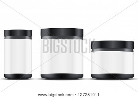 Mockup Sport Nutrition Container. Black Plastic Whey Protein and Gainer. 3D Illustration isolated on white background