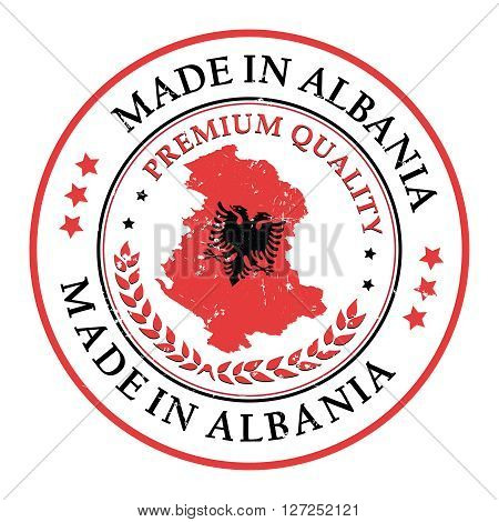 Made in Albania grunge printable label. Grunge label - Made in Albania, with Albanian flag colors and map. CMYK colors used.