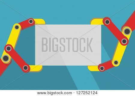 Robot hands holding blank sign with space for text. Flat Design.  Illustration isolated on background.