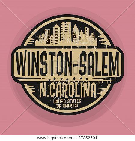 Stamp or label with name of Winston-Salem, North Carolina, vector illustration