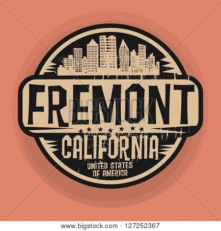 Stamp or label with name of Fremont, California, vector illustration