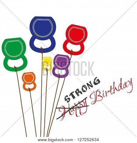 Vector Birthday card with kettlebells like a balloons