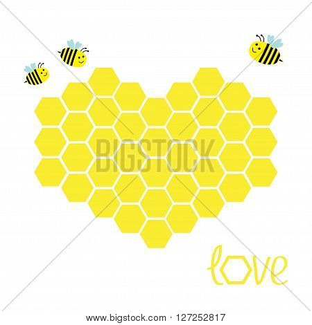 Yellow honeycomb set in shape of heart. Beehive element. Honey icon. Love greeting card. Isolated. White background. Flat design. Vector illustration