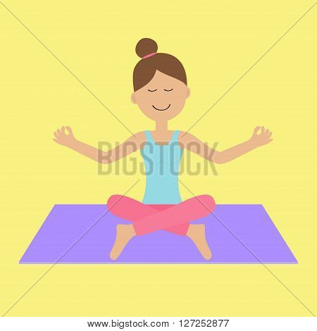 Cute cartoon woman character sitting in lotus pose. Young girl do yoga. Healthy lifestyle. Fitness clothes. Yoga pad. Relax exercises. Meditating. Isolated. Yellow background. Flat design. Vector