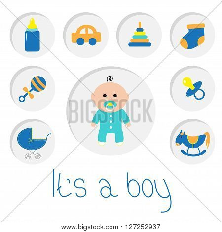 Its a boy. Baby boy shower card with bottle horse rattle pacifier sock car toy baby carriage pyramid. Round icon set. Isolated White bacground. Flat design Vector illustration