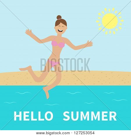 Hello summer. Woman wearing swimsuit jumping. Sun beach sea ocean. Happy girl jump. Cartoon laughing character in pink swimming suit. Smiling woman in bikini bathing suit. Flat design Vector