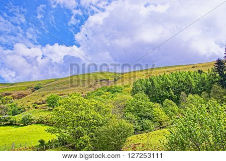 View to a hill in Snowdonia National Park in North Wales of the United Kingdom. Snowdonia is a mountain range and a region in North of Wales.