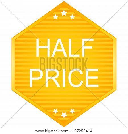 Half price sale ribbon. Vector image in orange tones.