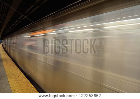 Running subway train in New York City.