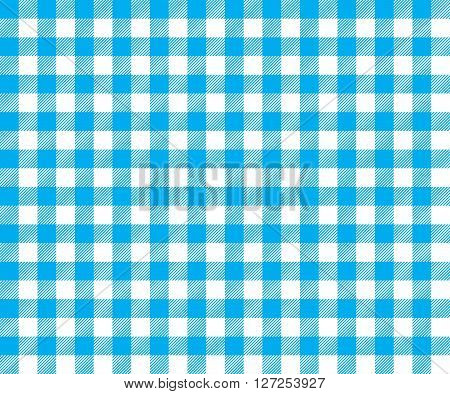 Blue table cloth background seamless pattern. Vector illustration of traditional gingham dining cloth with fabric texture. Checkered picnic cooking tablecloth.