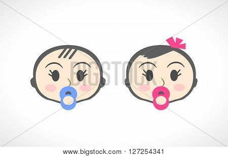Close up portrait of little baby, child, kid, girl and boy. Suitable for invitation, flyer, sticker, poster, banner, card, label, cover, web. Cartoon symbol of a little toddler. illustration.