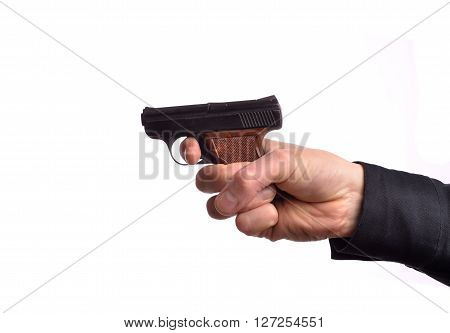 Hand with a gun on a white background