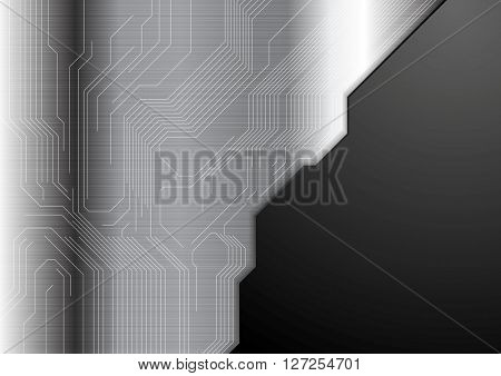 Abstract metallic background with circuit board. Vector dark grey technology design
