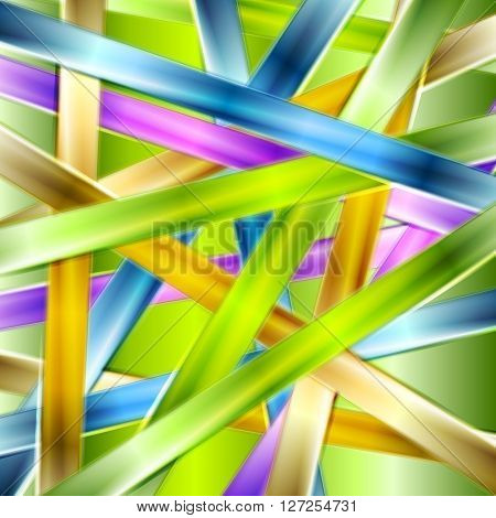 Colorful glossy stripes abstract background. Vector graphic design template