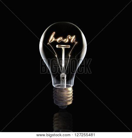 Glass bulb on black background