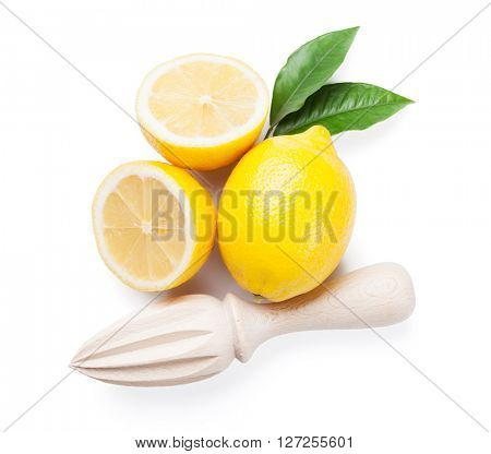 Fresh ripe lemons and juicer. Isolated on white background. Top view