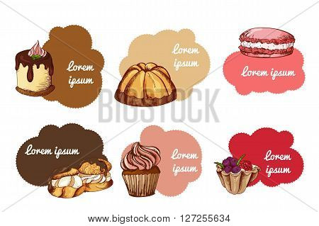 Vector desserts elements in hand drawn style. Delicious food. Art illustration. Sweet pastry for your design in cafe menu posters brochures