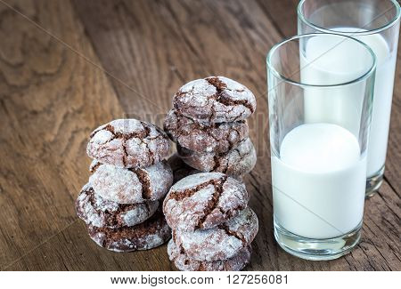 Chocolate Cookies With Glasses Of Milk