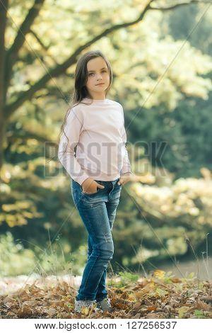 Adorable Serious Girl Adolescent