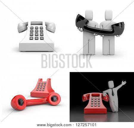 Set of illustration about phone and communication. 3d illustration