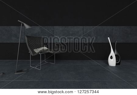3D render of futuristic black reclining chair with floor lamp and abstract containers or planters in room. 3d Rendering.